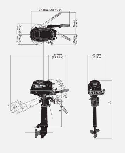 Лодочный мотор Tohatsu MFS 5 B DS 4-х тактный